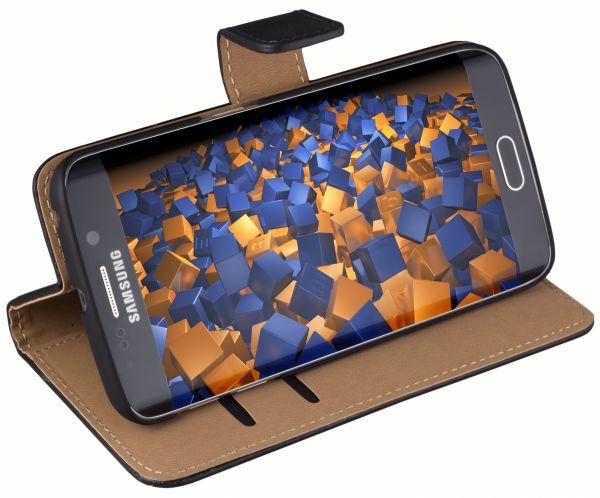 Bookstyle Ledertasche schwarz für Samsung Galaxy S6 Edge