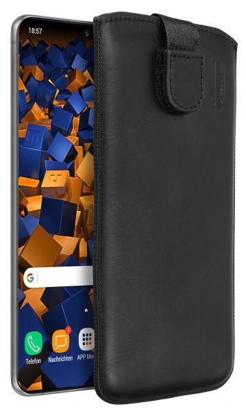 Leder Etui Tasche mit Ausziehlasche schwarz für Samsung Galaxy S20 Ultra