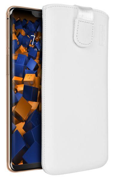 Leder Etui Tasche mit Ausziehlasche weiß für OnePlus 6