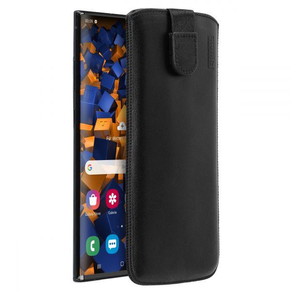 Leder Etui Tasche mit Ausziehlasche schwarz für Samsung Galaxy Note10 Plus