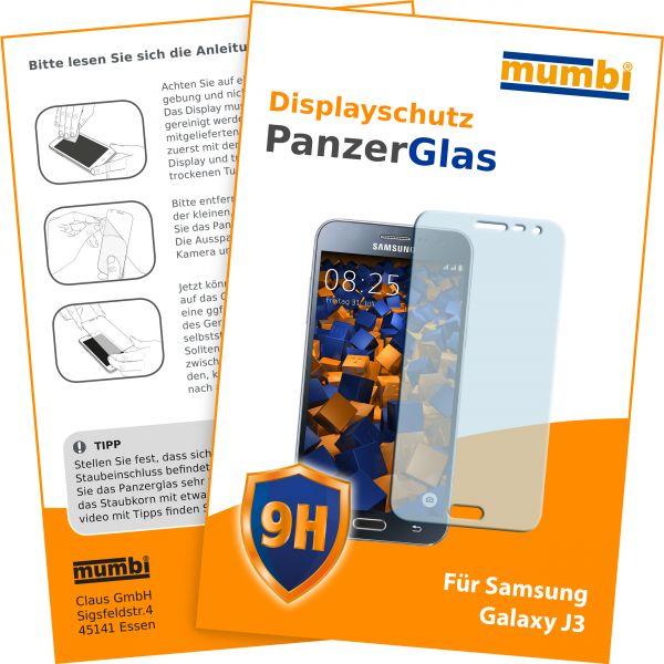 Panzerglasfolie Hartglas 9H für Samsung Galaxy J3 (2016)