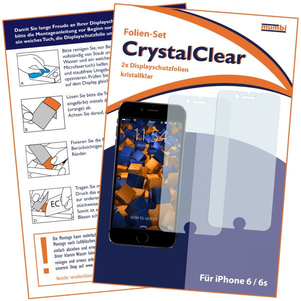 3D Touch Displayschutzfolie 2 Stck. CrystalClear für Apple iPhone 6 / 6s