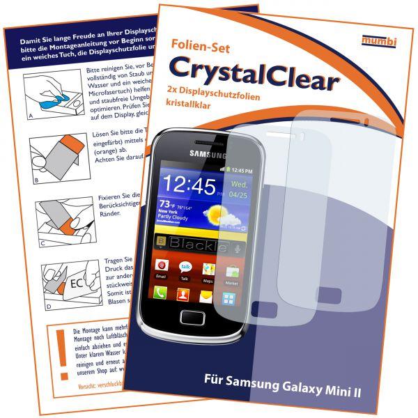 Displayschutzfolie 2 Stck. CrystalClear für Samsung Galaxy Mini 2
