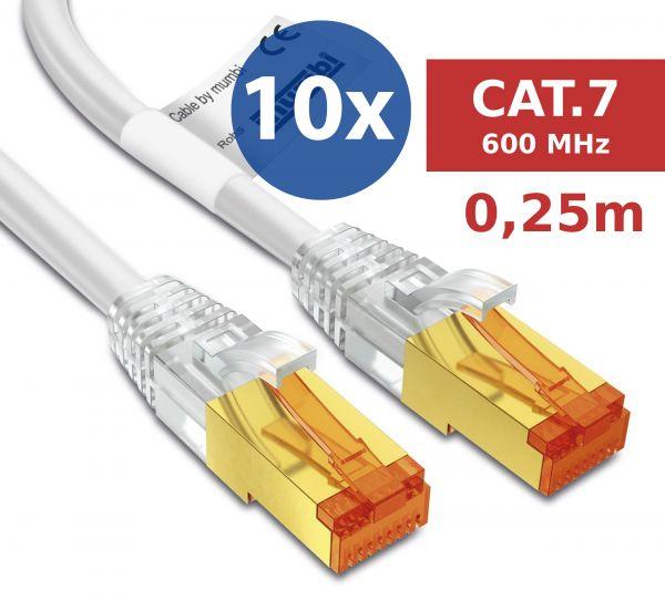 10er Set CAT 7 Rohkabel mit RJ45 Steckern Netzwerkkabel 0,25 Meter Kabel in Weiß