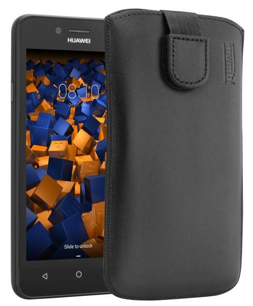 Leder Etui Tasche mit Ausziehlasche schwarz für Huawei Y3 II