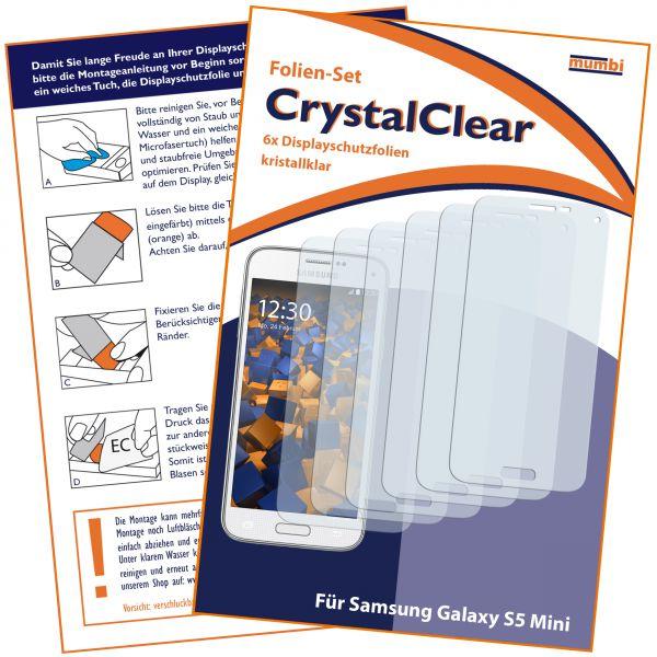 Displayschutzfolie 6 Stck. CrystalClear für Samsung Galaxy S5 Mini