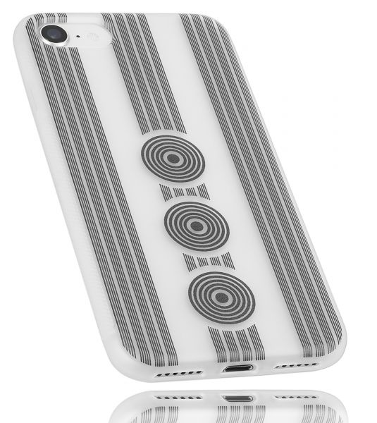 TPU Hülle Grip weiß transparent Motiv Kreise für Apple iPhone 8 / 7