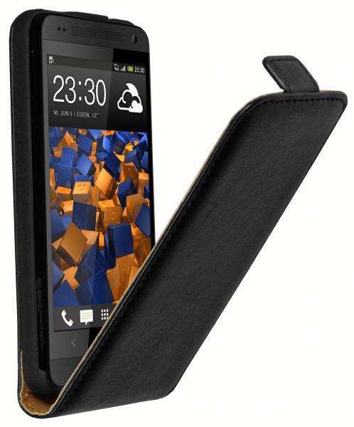 Flip Case Ledertasche schwarz für HTC One Mini