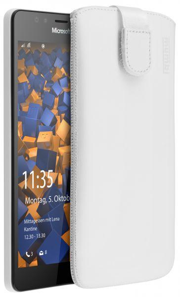 Leder Etui Tasche mit Ausziehlasche weiß für Microsoft Lumia 950