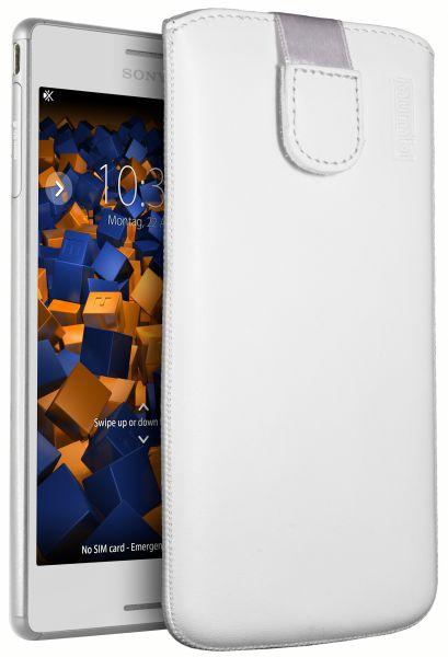 Leder Etui Tasche mit Ausziehlasche weiß für Sony Xperia M4 Aqua