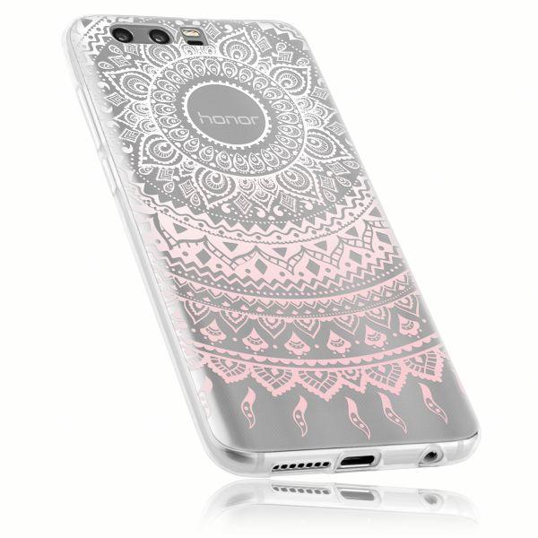 TPU Hülle Ultra Slim transparent weiß rosa Motiv Mandala für Huawei Honor 9