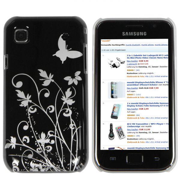 Hard Case Hülle schwarz Schmetterling Blumen für Samsung Galaxy S / S Plus