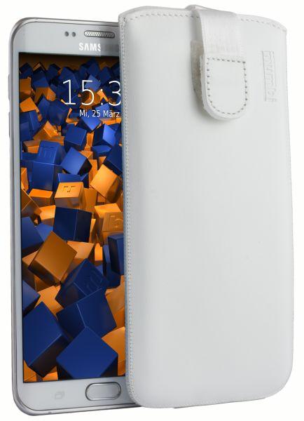 Leder Etui Tasche mit Ausziehlasche weiß für Samsung Galaxy S6 Edge Plus
