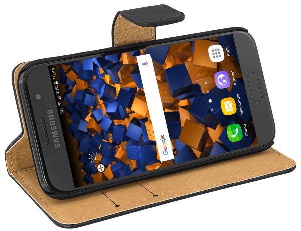 Bookstyle Ledertasche schwarz für Samsung Galaxy A3 (2017)