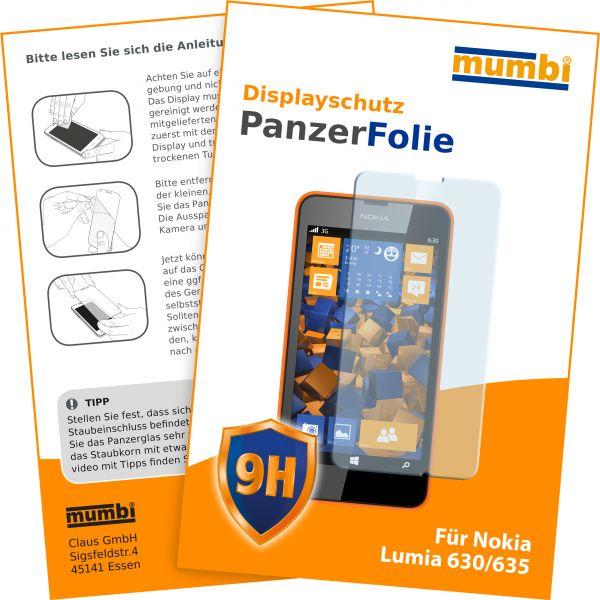 Panzerglasfolie Hartglas 9H für Nokia Lumia 630 / 635