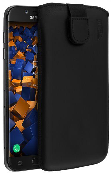 Leder Etui Tasche mit Ausziehlasche schwarz für Samsung Galaxy J5 (2017)