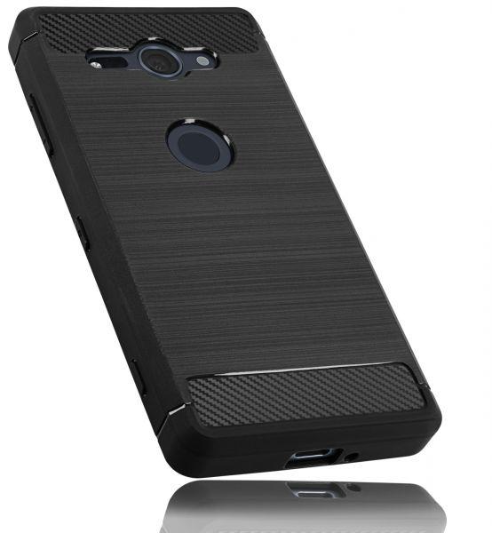 TPU Hülle schwarz in Metall Carbon Optik für Sony Xperia XZ2 Compact