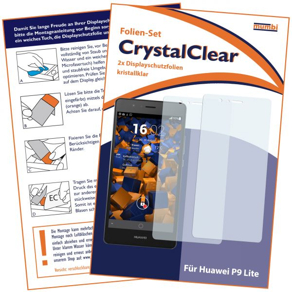 Displayschutzfolie 2 Stck. CrystalClear für Huawei P9 Lite