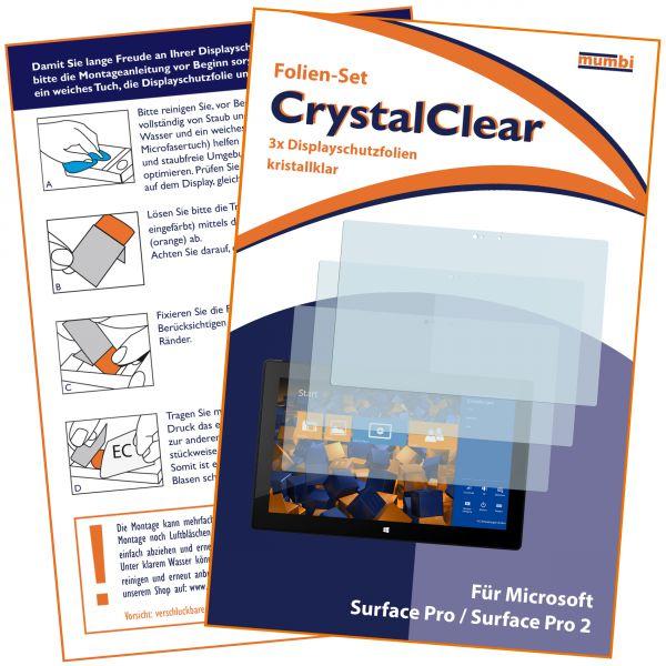 Displayschutzfolie 3 Stck. CrystalClear für Microsoft Surface Pro / Surface Pro 2