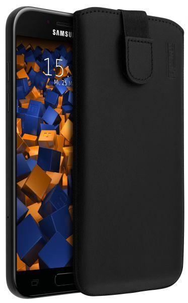 Leder Etui Tasche mit Ausziehlasche schwarz für Samsung Galaxy A5 (2017)