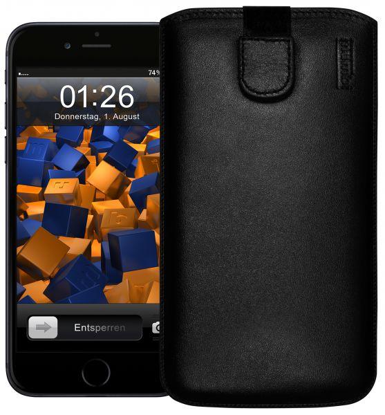 Leder Etui Tasche mit Ausziehlasche schwarz für Apple iPhone 6 Plus / 6s Plus