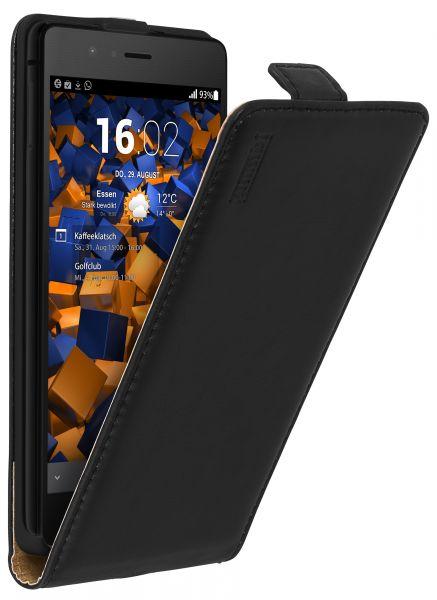 Flip Case Ledertasche schwarz für Huawei P9 Lite