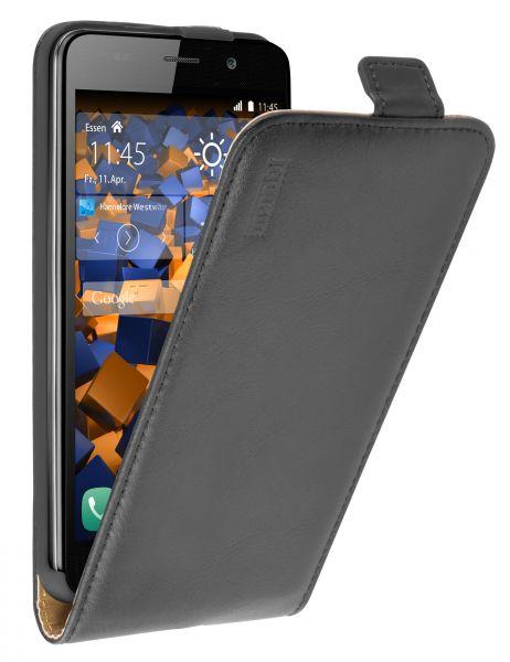 Flip Case Ledertasche schwarz für Huawei Y6 (2015)