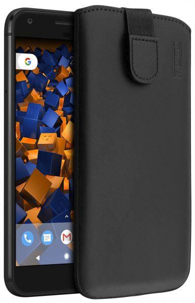 Leder Etui Tasche mit Ausziehlasche schwarz für Google Pixel