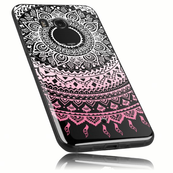 TPU Hülle Ultra Slim transparent weiß rosa Motiv Mandala für HTC U11