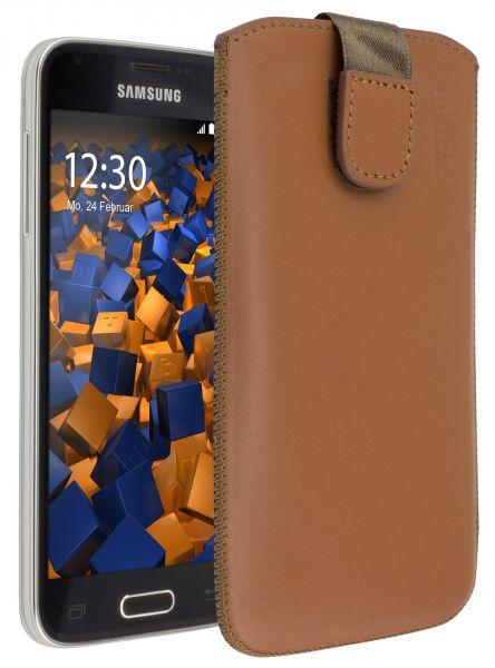 Leder Etui Tasche mit Ausziehhilfe cognac für Samsung Galaxy S5 Mini