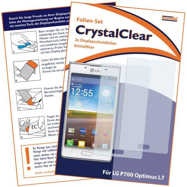 Displayschutzfolie 2 Stck. CrystalClear für LG P700 Optimus L7