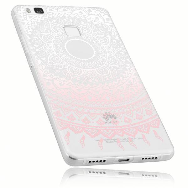 TPU Hülle Ultra Slim transparent weiß rosa Motiv Mandala für Huawei P9 Lite