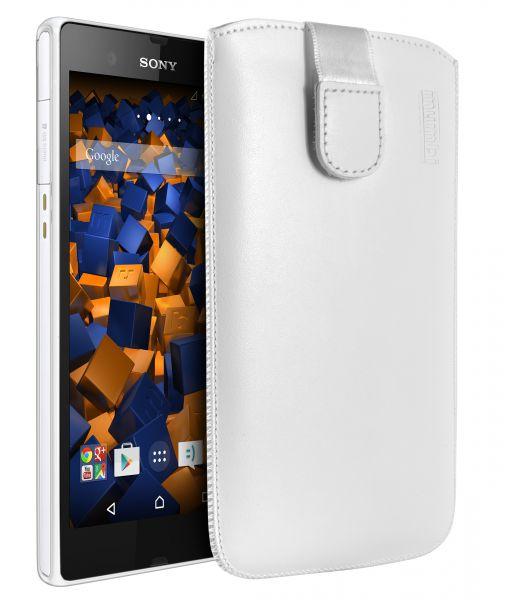 Leder Etui Tasche mit Ausziehlasche weiß für Sony Xperia Z