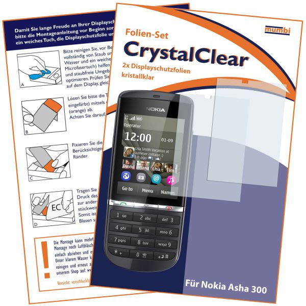 Displayschutzfolie 2 Stck. CrystalClear für Nokia Asha 300