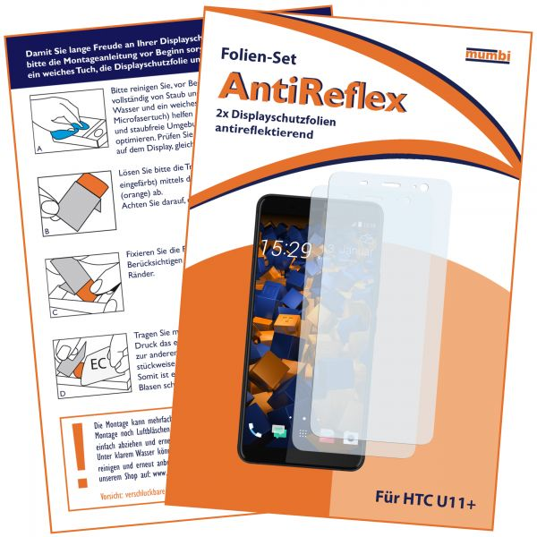 Displayschutzfolie 2 Stck. AntiReflex für HTC U11 Plus