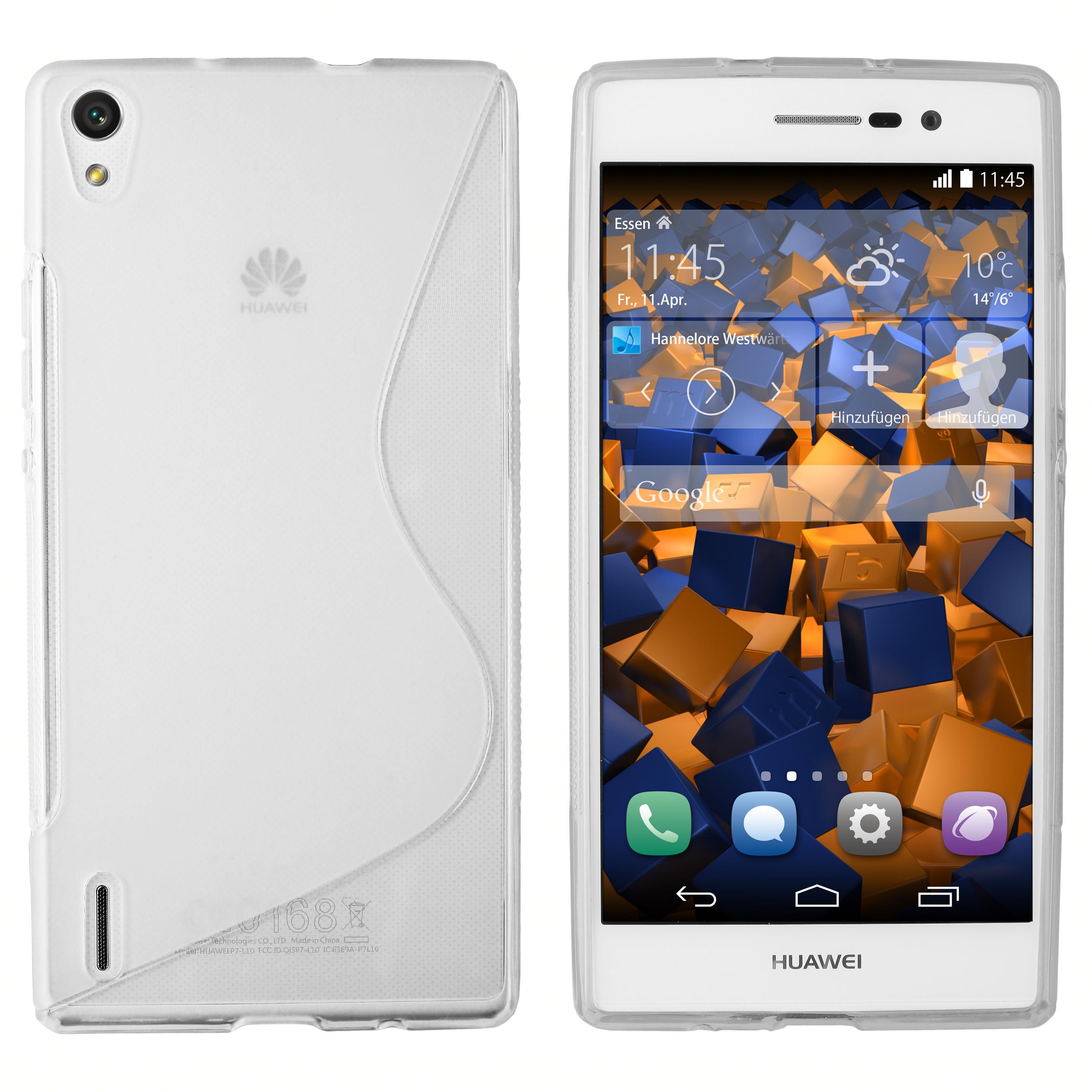 TPU Hülle S Design transparent weiß für Huawei Ascend P7 Ascend P7 Huawei weitere Modelle Weitere Modelle Hersteller