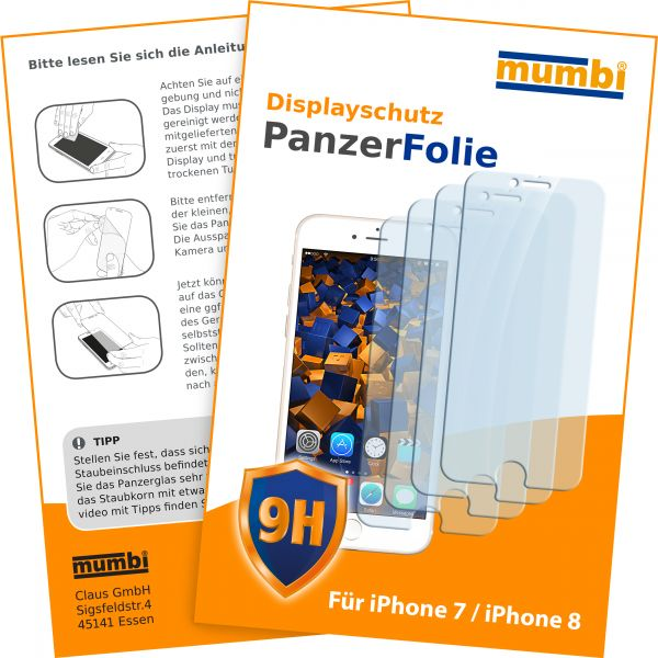Panzerglasfolie Hartglas 9H 4 Stck. für Apple iPhone 8 / 7
