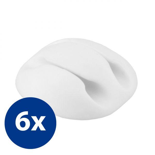 Kabelführung 2-fach 6 Stck. in Weiß für Kabel bis 3mm