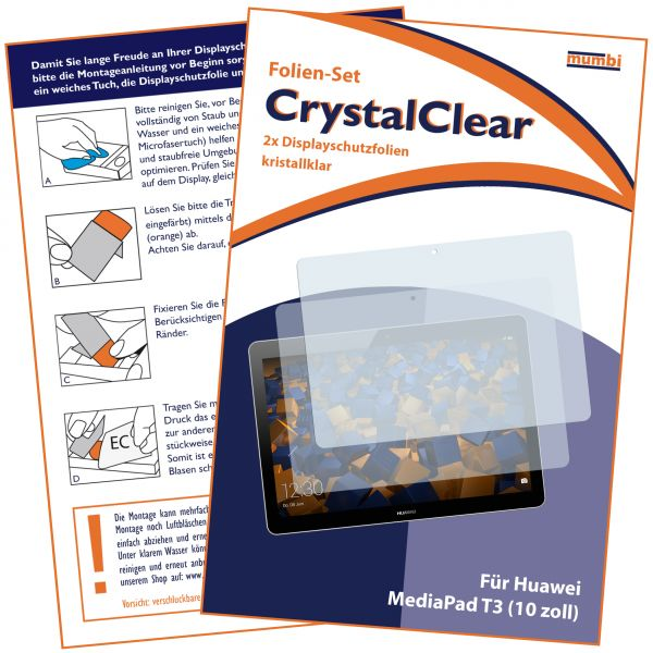 Displayschutzfolie 2 Stck. CrystalClear für Huawei MediaPad T3 (10.0)