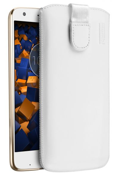 Leder Etui Tasche mit Ausziehlasche weiß für Motorola Moto Z2 Force