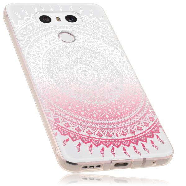 TPU Hülle transparent weiß rosa Motiv Mandala für LG G6