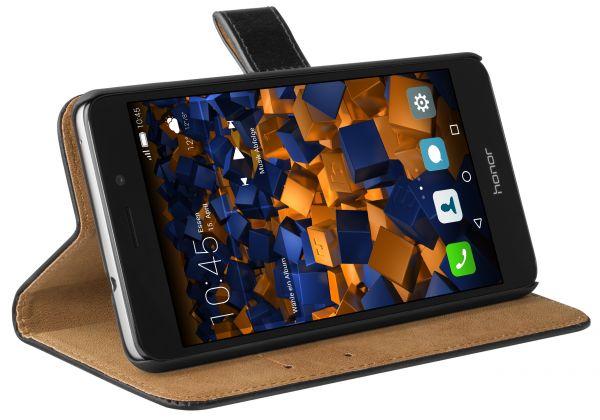 Bookstyle Ledertasche schwarz für Huawei Honor 5C Tasche