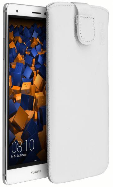 Leder Etui Tasche mit Ausziehlasche weiß für Huawei Mate S