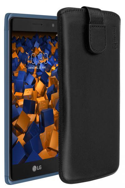 Leder Etui Tasche mit Ausziehlasche schwarz für LG Class
