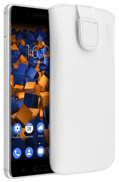 Leder Etui Tasche mit Ausziehlasche weiß für Nokia 6 (2017)