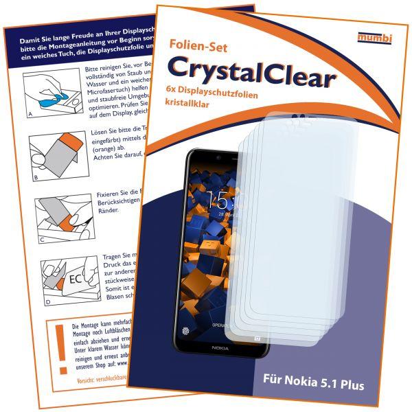Displayschutzfolie 6 Stck. CrystalClear für Nokia 5.1 Plus
