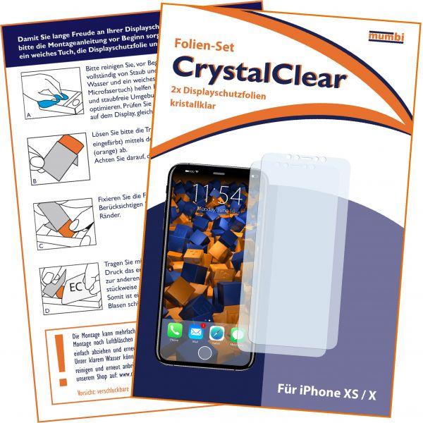 Displayschutzfolie 2 Stck. CrystalClear für Apple iPhone XS / X