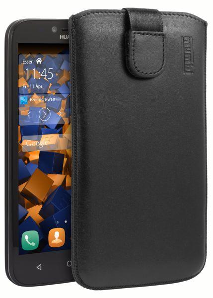 Leder Etui Tasche mit Ausziehlasche schwarz für Huawei Y625
