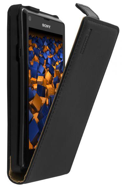 Flip Case Ledertasche schwarz für Sony Xperia L
