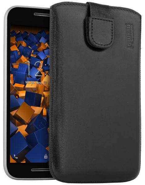 Leder Etui Tasche mit Ausziehlasche schwarz für Motorola Moto G 3. Generation
